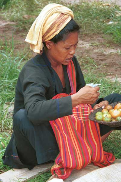 35K Jpeg 9809R33 Pa'O woman selling tomatoes at Ywama floating market, Lake Inle, Shan State