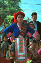 Jpeg 78K Red Hat Miao costume on one of the dancers - Da Shu Jia village, Xin Zhou township, Longlin county, Guangxi province 0010h31.jpg