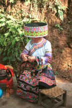 Jpeg 120K Working on a braid - the costume shows both Clean Water and Red Hat Miao - Da Shu Jia village, Xin Zhou township, Longlin county, Guangxi province 0010i07.jpg