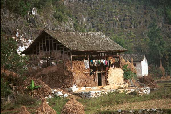 Jpeg 49K  /0110E28 House and barn near Gan He village, Ya Rong township, Huishui county, Guizhou province. This is a Qing Miao (or Bouyei/Miao) village as there has been much intermarriage and the costume is very mixed).