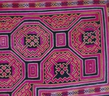 to Jpeg 58K ge-jia-emb-bc16E A detail of an embroidered Ge Jia baby carrier, originally from Huangping county, Guizhou province, in the collection of Andrew Dudley which he purchased from a dealer in Kaili in 2001. It was said to be 30-40 years old by the seller, putting it in the third quarter of the 20th century.