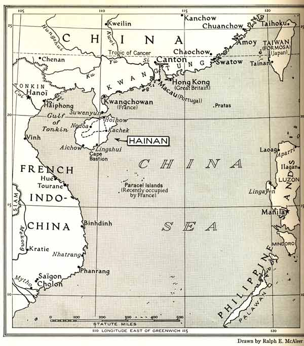 "Jpeg 51K Map showing location of Hainan from the article in the September 1938 edition of The National Georgraphic Magazine ""Among the Big Knot Lois of Hainan"" by Leonard Clark.  The broken line indicates the route of Clark's July/August 1937 expedition"