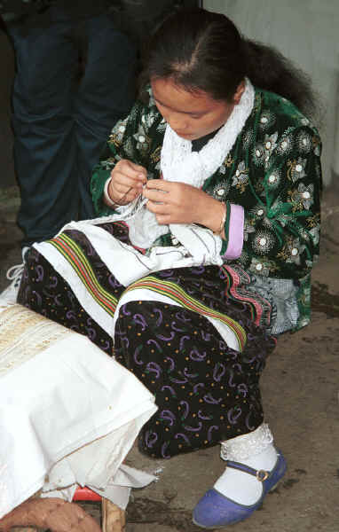 Young Side comb Miao woman working on embroidery for one of the strips to be inserted in a skirt - Long Dong village, De Wo township, Longlin country, Guangxi province 0010e22A.jpg