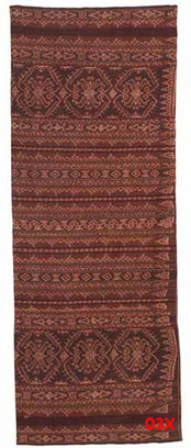 to 72K Jpg - Sarong from the weaving group at Sikka and the design is typical from that area. Commercial thread and synthetic dyes. The large motif is a flower basket (so I was told), like the flower offering baskets you see outside homes in Bali.