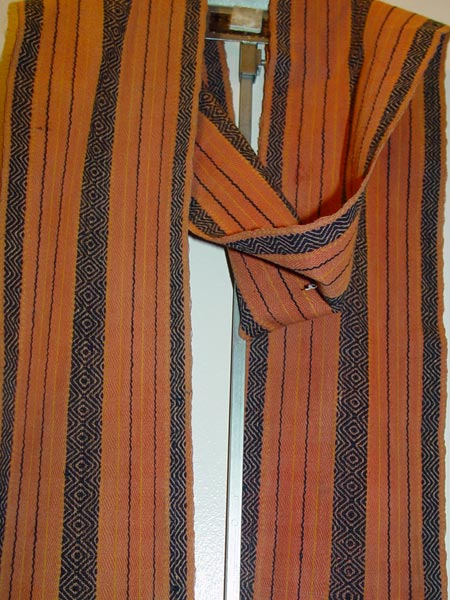 73K Jpg 05 - Detail 1 of Gadang man's cotton loincloth with European beads, Northern Luzon, early 20th century. 272 cm x 11 cm