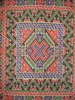 to 76K Jpg 12 - Detail 2 of Tawsug cotton tapestry-weave and silk headcloth, Sulu archipelago, 20th century. 76 cm x 76 cm