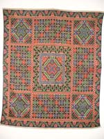 to 75K Jpg 12 - Tawsug cotton tapestry-weave and silk headcloth, Sulu archipelago, 20th century. 76 cm x 76 cm