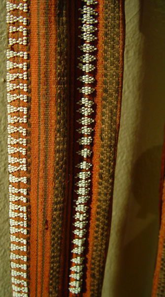 67K Jpg 13 - Detail 1 of Gadang woman's cotton sash with European beads, Northern Luzon, early 20th century. 216 cm x 8 cm