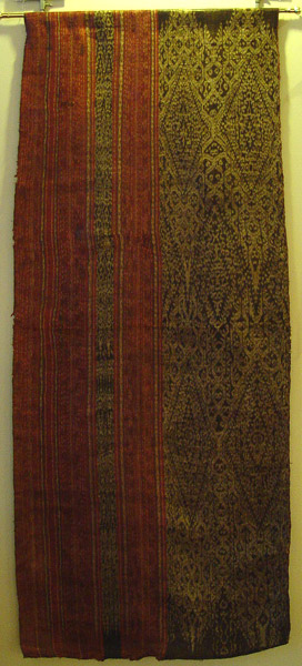 69K Jpg 19 - Tboli woman's abaka and ikat dress, Mindanao, late 19th or early 20th century. This garment was pounded with a wooden mallet after it was embroidered to create a glossy sheen. 62 cm x 150 cm