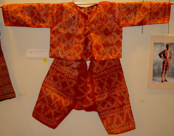70K Jpg 21 - Bogobo man's abaka and plangi (tie-dye) jacket and trousers, Mindanao, early 20th century. Jacket 117 cm x 41 cm x 49 cm. Trousers 59 cm x 66 cm