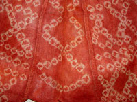 to 68K Jpg 21 - Detail 3 of Bogobo man's abaka and plangi (tie-dye) jacket and trousers, Mindanao, early 20th century. Jacket 117 cm x 41 cm x 49 cm. Trousers 59 cm x 66 cm