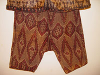 to 66K Jpg 22 - Detail 3 of Bla'an (possibly T'boli) man's abaka and ikat jacket and trousers, Mindanao, early 20th century. Jacket 152 cm x 56 cm x 52 cm. Trousers 56 cm x 44 cm