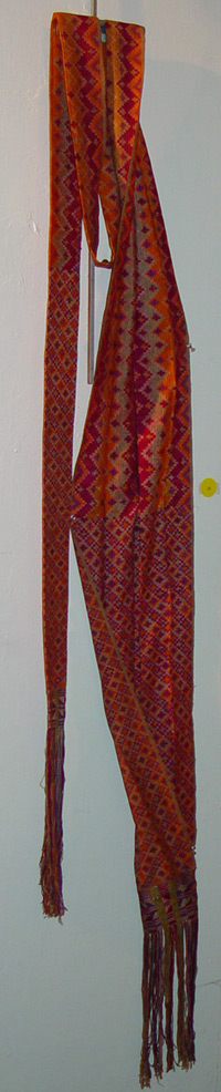 72K 24 - Cotton sash with multi-colored ikat design, Mindanao, late 19th to early 20th century.