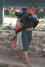to Jpeg 29K Blue Hmong boy carrying a baby in a baby-carrier on his back in a village on Doi Suthep 8812l01