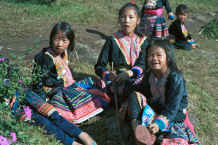 to Jpeg 44K Blue Hmong children playing in a village on Doi Suthep above Chiang Mai 8812l11