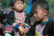 to Jpeg 38K Blue Hmong young girl and boy in a village on Doi Suthep above Chiang Mai 8812l12