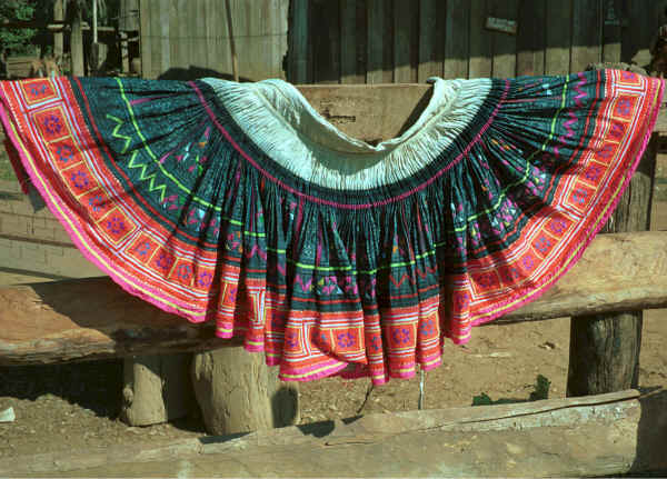 Blue Hmong skirt hanging out to dry in a village on Doi Chiang Dao on the road from Chiang Mai to Fang 8812n27A