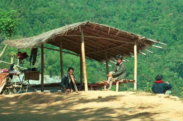 Yao man smoking a waterpipe in a village in the hills around Chiang Rai 8812q21.jpg