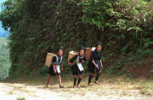to Jpeg 29K Black Hmong girls climbing back to their village in the hills around Sa Pa, Lao Cai Province 9510K15.JPG