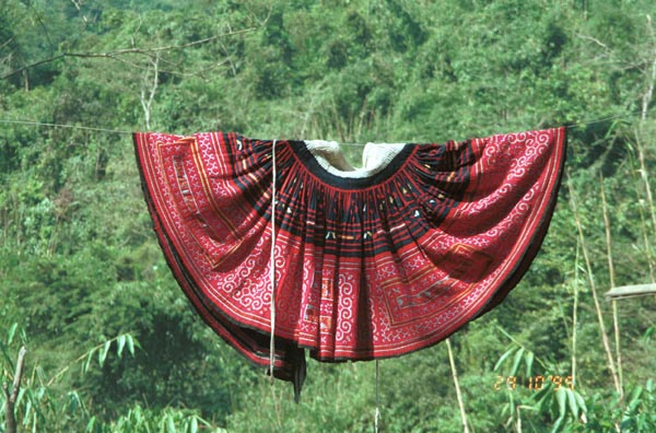 Hmong batik and embroidered skirt photographed on washing line in Lai Chau province near to Phong Thanh, northern Vietnam 9510F26.jpg
